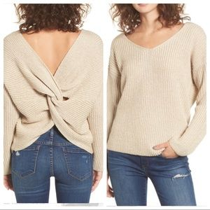 NWT ASTR The Label Twist Back Sweater Oatmeal